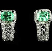 Украшения handmade. Livemaster - original item 4.25 tcw Colombian Emerald & Diamond Cluster Earrings 14k, Diamond And. Handmade.