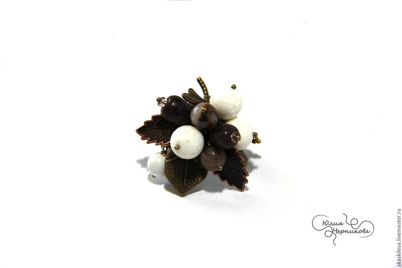 """Кольца ручной работы. Ярмарка Мастеров - ручная работа. Купить Кольцо """"Шоколадный зефир"""". Handmade. Белый, натуральные камни"""