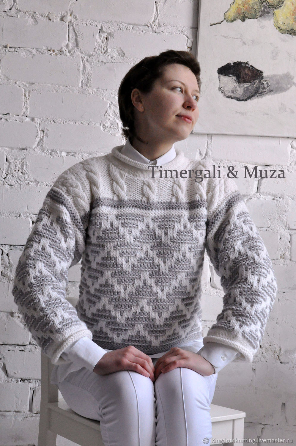 Wool Hand Knit Sweater Stylish Two-Tone Jumper, Jumpers, Moscow,  Фото №1