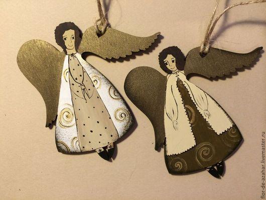 Новый год 2017 ручной работы. Ярмарка Мастеров - ручная работа. Купить Ангелы на ёлку - бежевые. Handmade. Ангел, ангелок, украшение