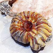 Украшения handmade. Livemaster - original item Sand Ammonite - sea lampwork pendant. Handmade.