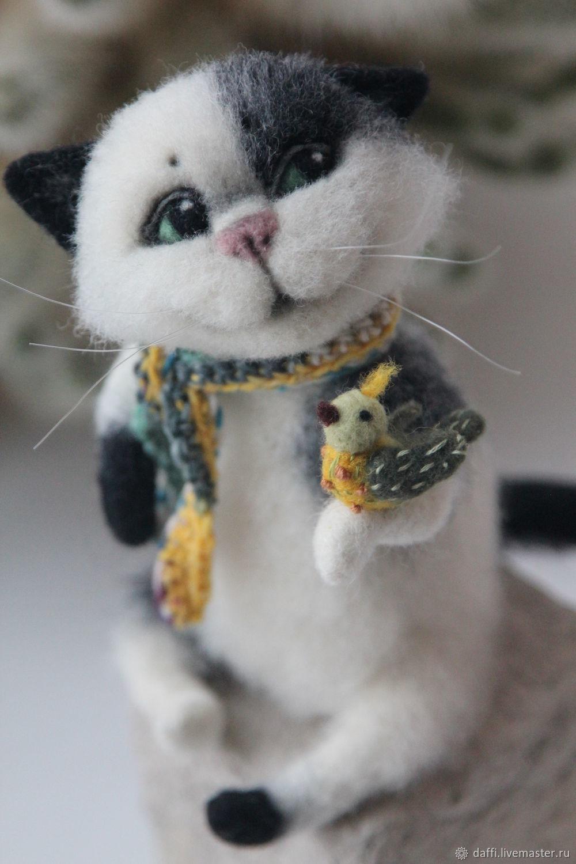 Кот с птичкой, Войлочная игрушка, Дзержинск,  Фото №1