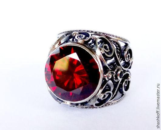 """Кольца ручной работы. Ярмарка Мастеров - ручная работа. Купить Кольцо серебряное """"Корнелия"""". Handmade. Ярко-красный, серебряное кольцо"""