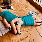 Аксессуары handmade. Livemaster - original item Short leather mittens. Turquoise and other colors. Handmade.