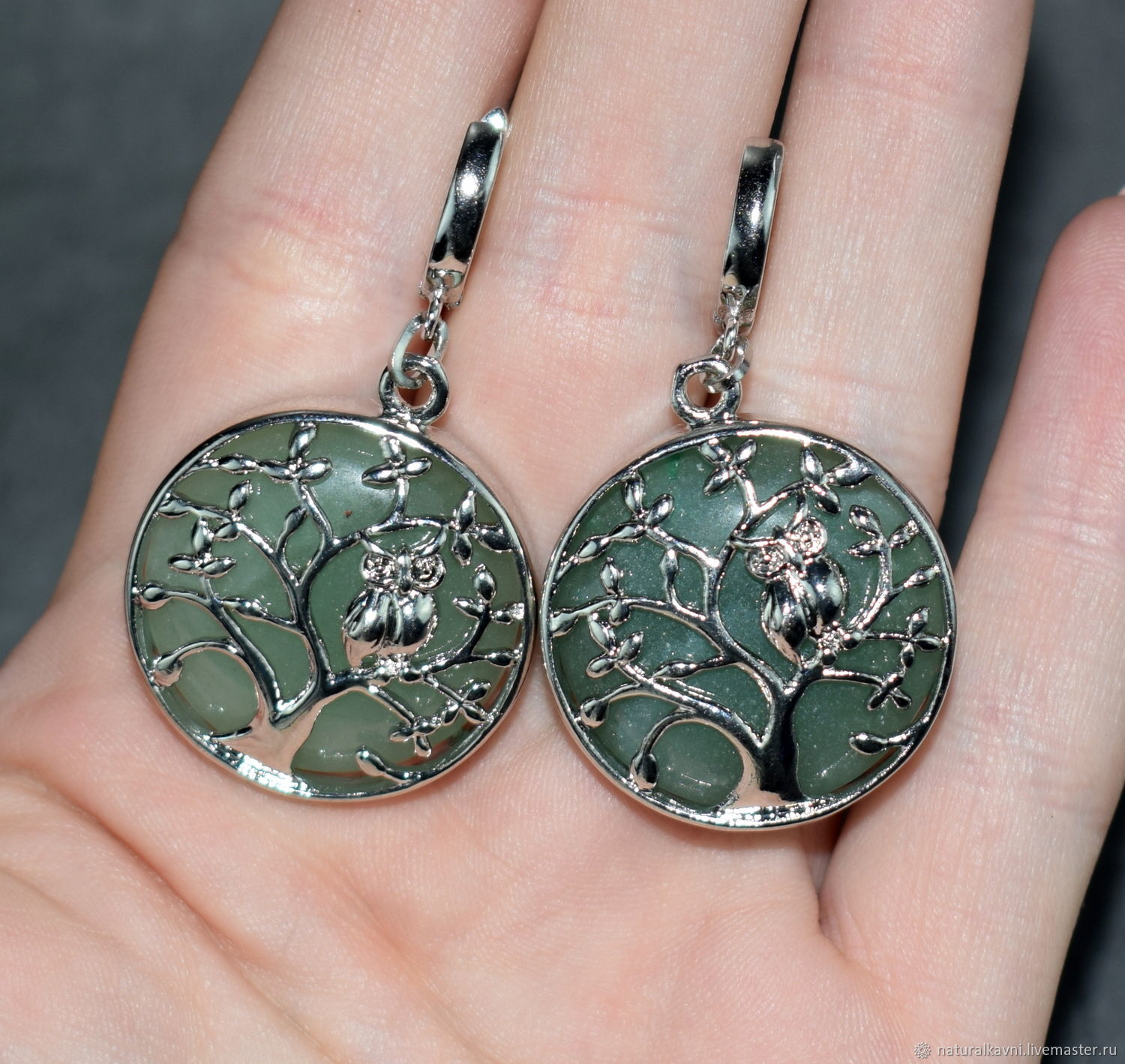 'Tree of happiness ' aventurine natural stone Earrings, Earrings, Moscow,  Фото №1
