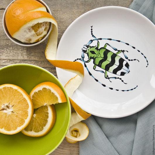 """Тарелки ручной работы. Ярмарка Мастеров - ручная работа. Купить Тарелка """"Жук ламиин"""". Handmade. Морская волна, посуда, фарфор"""
