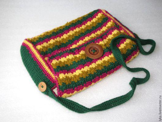 сумка вязаная крючком, сумка разноцветная, купить сумку, зеленая, коллекция, Авторская сумка ручной работы, шерстяная сумка, сумочка, через плечо, купить сумочку, купить вязаную сумочку