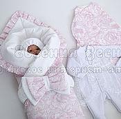 """Работы для детей, ручной работы. Ярмарка Мастеров - ручная работа Комплект на выписку """"Розовая нежность"""". Handmade."""