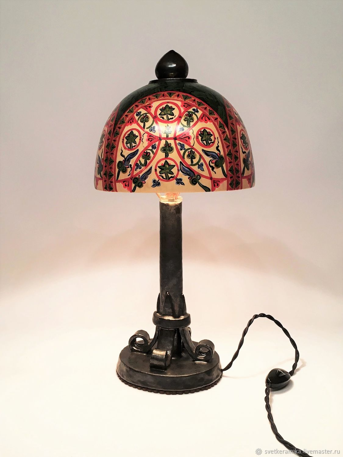Table lamp made of wood, ceramics and copper painted in the Russian style, Table lamps, Moscow,  Фото №1