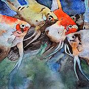"""Картины ручной работы. Ярмарка Мастеров - ручная работа Картина акварель """"Скалярии"""". Handmade."""