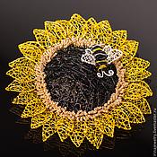 """Украшения ручной работы. Ярмарка Мастеров - ручная работа Брошь """"Sunflower"""". Handmade."""