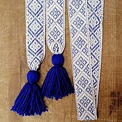 Русский стиль handmade. Livemaster - original item The belt is severe with blue. Handmade.
