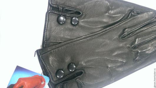 Варежки, митенки, перчатки ручной работы. Ярмарка Мастеров - ручная работа. Купить Перчатки женские кожаные без подкладки с рюшей. Handmade.