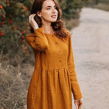 Одежда ручной работы. Ярмарка Мастеров - ручная работа Шафрановое льняное платье. Handmade.