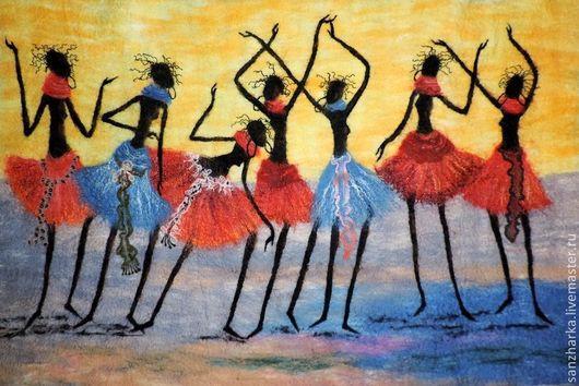 """Люди, ручной работы. Ярмарка Мастеров - ручная работа. Купить Панно """"Семь африканок"""". Handmade. Разноцветный, африканский стиль, африканка"""