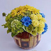 Цветы и флористика ручной работы. Ярмарка Мастеров - ручная работа Букет с подсолнухами из полимерной глины. Handmade.