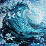"""Картины ручной работы. Ярмарка Мастеров - ручная работа Картина маслом """" Волна"""". Handmade."""