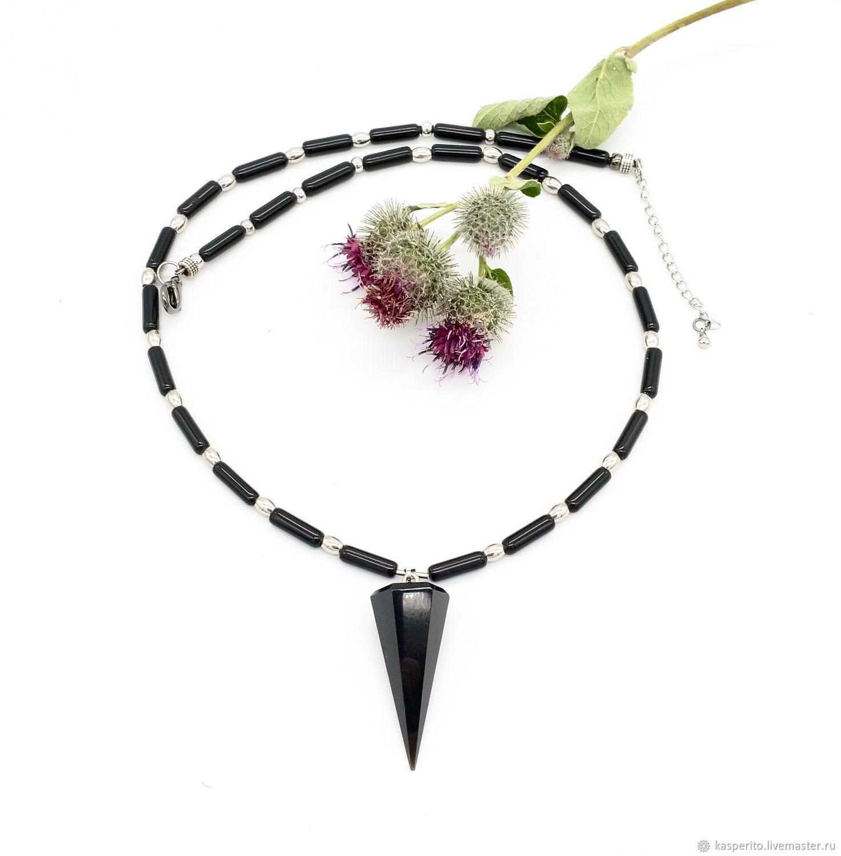 Collar colgante de péndulo para hombre. La obsidiana negro, Chokers, Moscow,  Фото №1