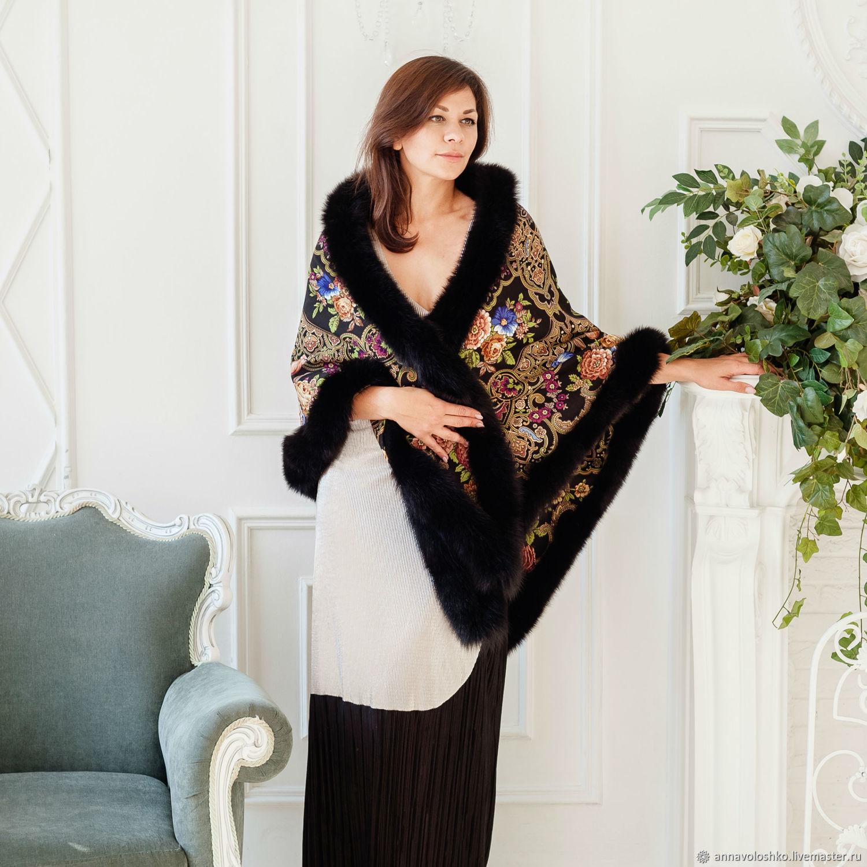 Pavloposad shawl with fur, Shawls, Moscow,  Фото №1