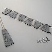 """Украшения ручной работы. Ярмарка Мастеров - ручная работа Комплект """"Мраморный""""(браслет и подвеска). Handmade."""