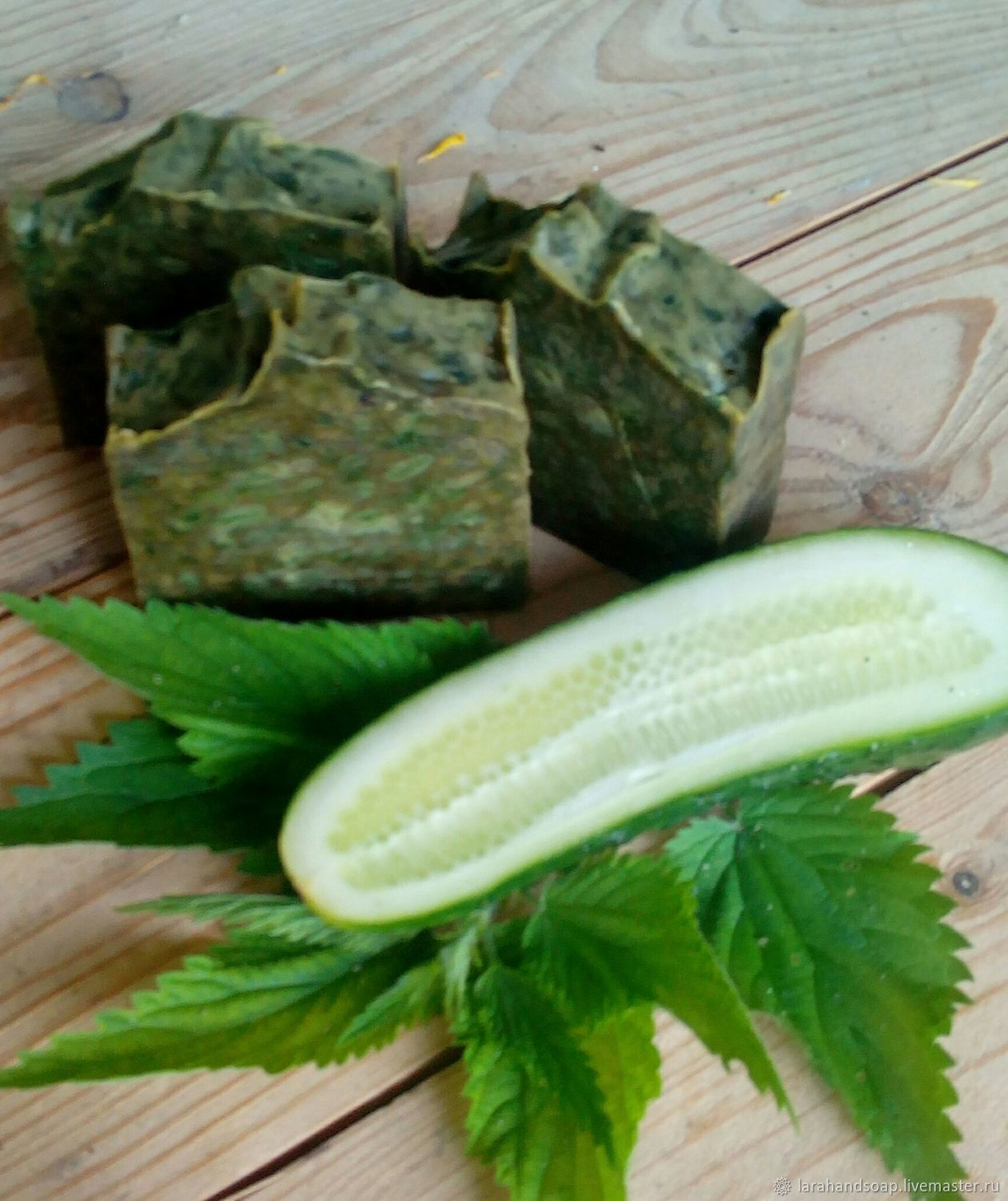 Natural soap from scratch Cucumber with Parsley and Nettle, Soap, Neman,  Фото №1