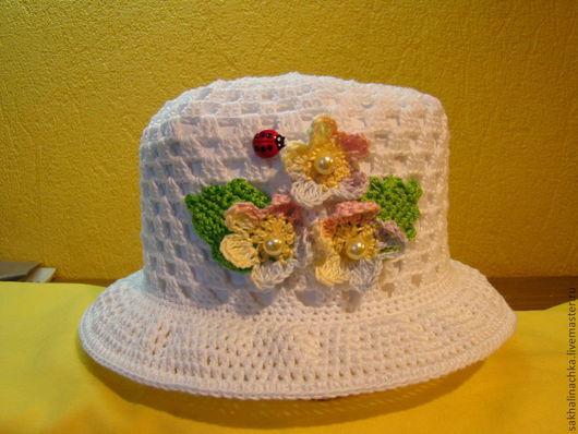 Шапки и шарфы ручной работы. Ярмарка Мастеров - ручная работа. Купить шляпка 11. Handmade. Белый, шляпка для девочки, летнее