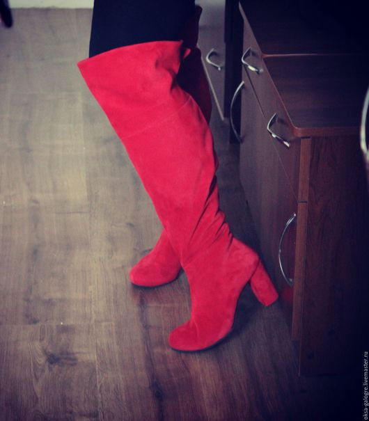 Обувь ручной работы. Ярмарка Мастеров - ручная работа. Купить сапоги зимние. Handmade. Ярко-красный, демисезонная обувь