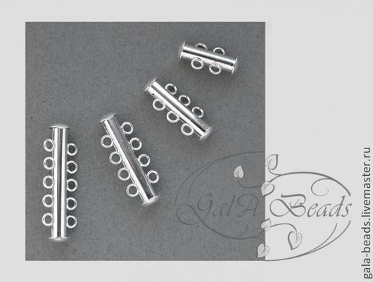 Для украшений ручной работы. Ярмарка Мастеров - ручная работа. Купить Застёжка - слайдер,серебро (ассортимент) латунь посеребрённая. Handmade.
