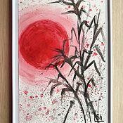 Картины и панно handmade. Livemaster - original item Watercolor painting Japanese motifs sun and bamboo