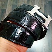 Аксессуары handmade. Livemaster - original item The belt from the abdominal part of crocodile leather, in black color.. Handmade.