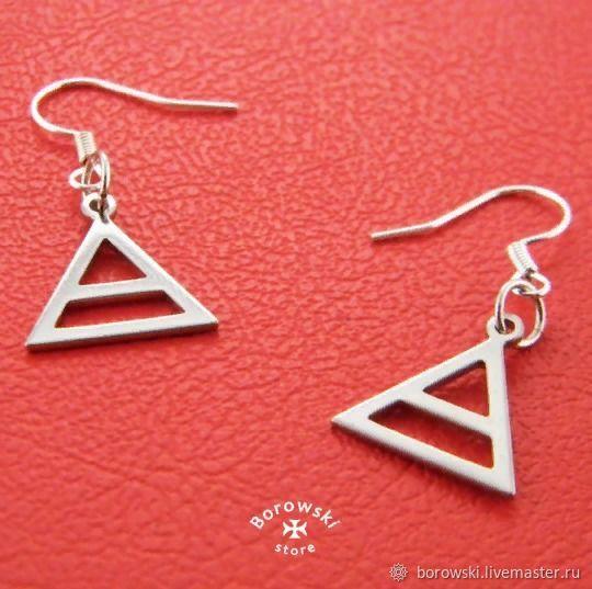 Triad earrings stainless steel, Earrings, St. Petersburg,  Фото №1