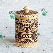 """Русский стиль handmade. Livemaster - original item Берёзовый туесок для соли """"Цветы"""" 8х12. Туес из бересты. Подарок маме. Handmade."""