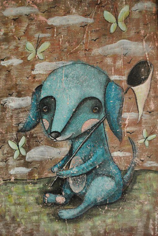 Животные ручной работы. Ярмарка Мастеров - ручная работа. Купить Голубой щенок (репродукция). Handmade. Бирюзовый, щеночек, голубой цвет