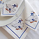 Tablecloth and napkins with embroidery `Geese` on the famous Czech dinner service. ` Sulkin house` embroidery workshop