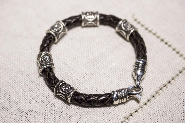 Женский кожаный браслет регализ Лада (серебро 925)