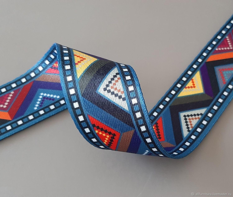 """Стропа 3,8 см """"ЗигЗаг"""" синий, Фурнитура для сумок, Ейск,  Фото №1"""