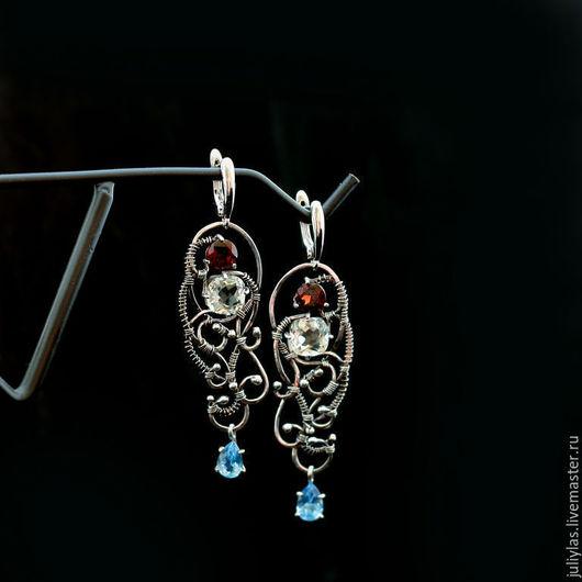 Серьги длинные серебро, шикарное серебряное украшение с натуральными камнями, роскошное серебряное украшение, серьги длинные кружевные