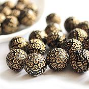 Материалы для творчества handmade. Livemaster - original item Beads Acrylic fiber antique design seven color ball 14mm. Handmade.