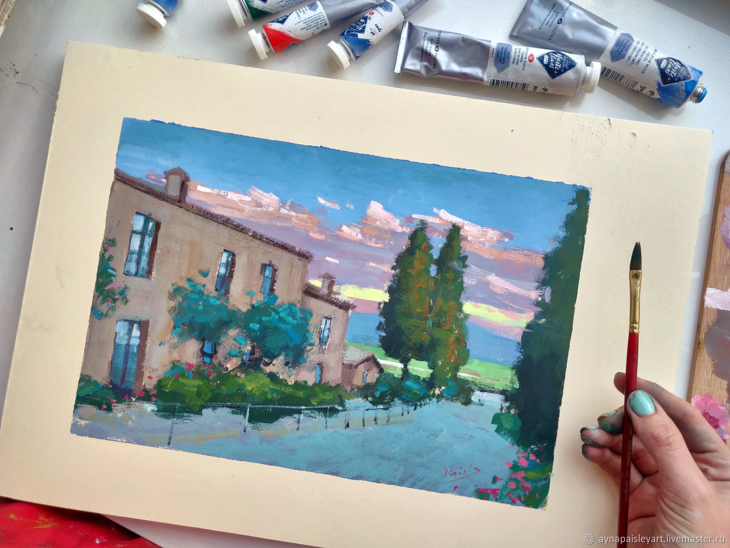 Landscape gouache: Tuscany, Italy, Pictures, Moscow, Фото №1