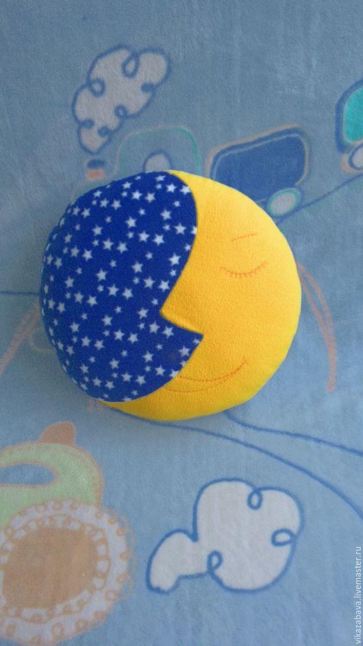 Подушка сладкий сон, подушка-игрушка, месяц, ночь, подушка для сна, подушка в подарок, подушечка в кроватку, подушечка в детскую, детская подушечка, круглая подушка, синяя подушка-игрушка, желтая