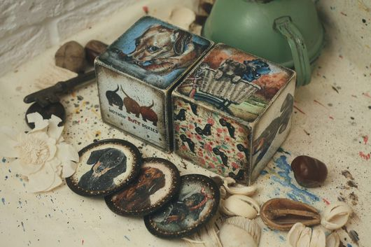 Персональные подарки ручной работы. Ярмарка Мастеров - ручная работа. Купить Собаки Чехова (таксы, кубики, магниты). Handmade. Таксы