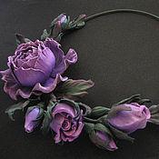 Necklace handmade. Livemaster - original item Decoration flowers leather Choker with PURPLE flowers-PURPLE ROSES. Handmade.