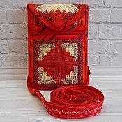 Чехол ручной работы. Ярмарка Мастеров - ручная работа Лоскутная сумочка для телефона, чехол для телефона с кармашком, Этно. Handmade.