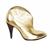 Обувь ручной работы handmade. Livemaster - original item Ankle boots made of genuine leather gold color. Handmade.