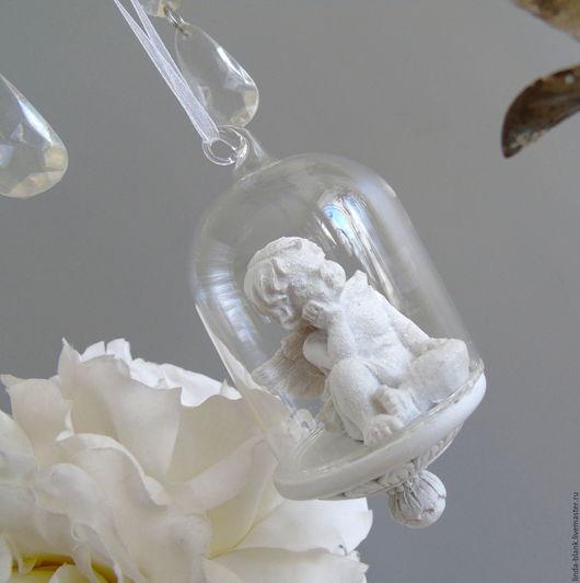 Винтажные предметы интерьера. Ярмарка Мастеров - ручная работа. Купить Подвесное украшение декор шар ангел стекло. Handmade. Стекло