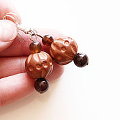 Украшения handmade. Livemaster - original item Earrings with pomegranate, coffee agate and ceramic beads. Handmade.