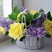 Цветы и флористика ручной работы. Ярмарка Мастеров - ручная работа Букет с нежно  желтыми розами и сиренью в стиле прованс. Handmade.