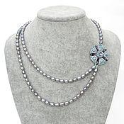 Necklace handmade. Livemaster - original item asymmetrical necklace pearl dew beads pearls swarovski grey. Handmade.