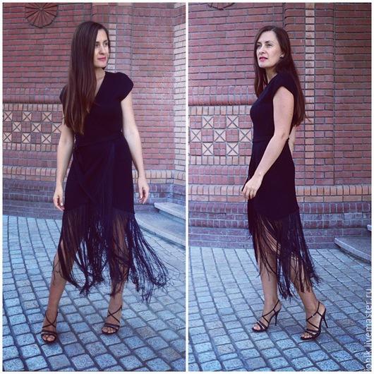 Платья ручной работы. Ярмарка Мастеров - ручная работа. Купить Черное платье с бахромой. Handmade. Черный, модное платье