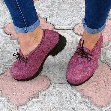 Обувь ручной работы. Ярмарка Мастеров - ручная работа Туфли валяные Брусника. Handmade.